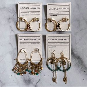 Melrose and Market Gold Tone Earrings - 4 sets